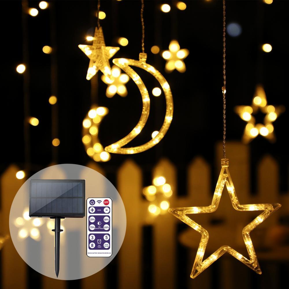 Solar Garland Solar String Lights Outdoor Garland Light Moon and Star Light LED Decorative Solar Lamp For Garden