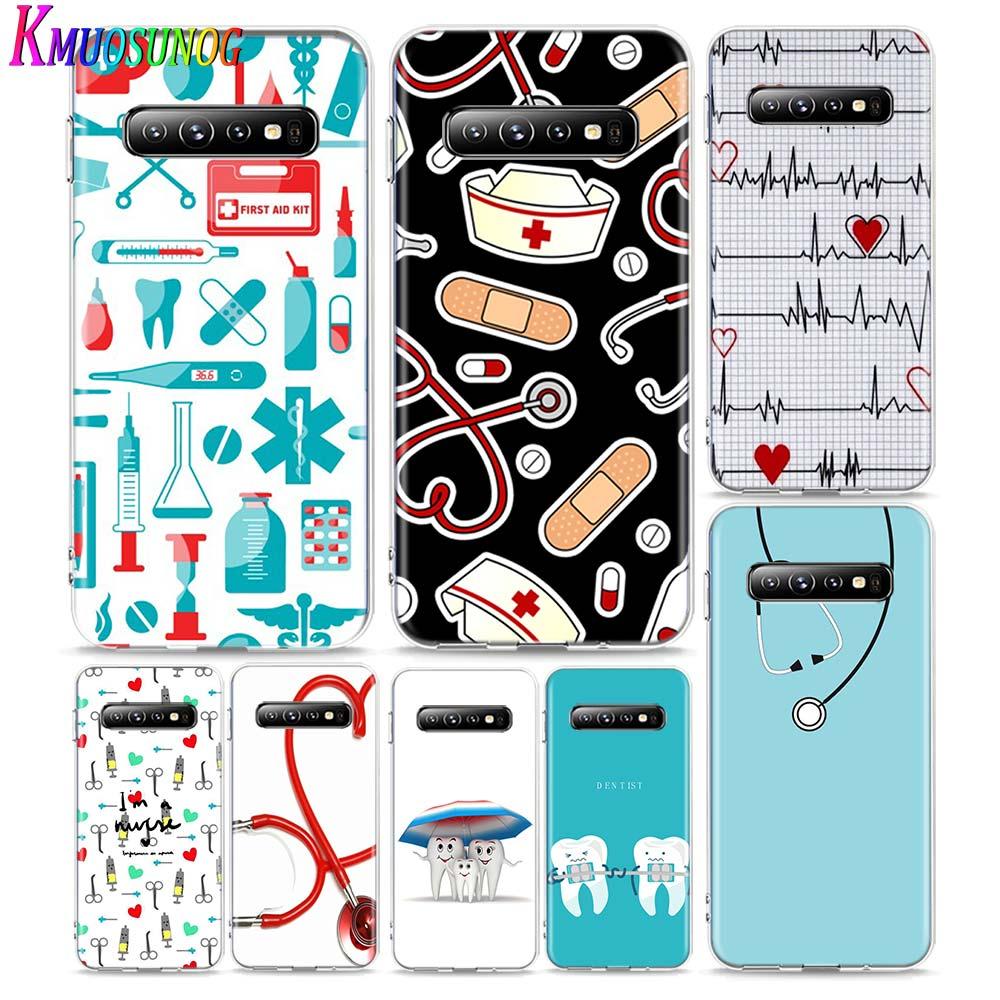 Funda transparente para teléfono enfermera medicina Médica Salud para Samsung Galaxy Note 10 9 8 S10 5G S9 S8 Plus S7 S6 Edge funda para teléfono