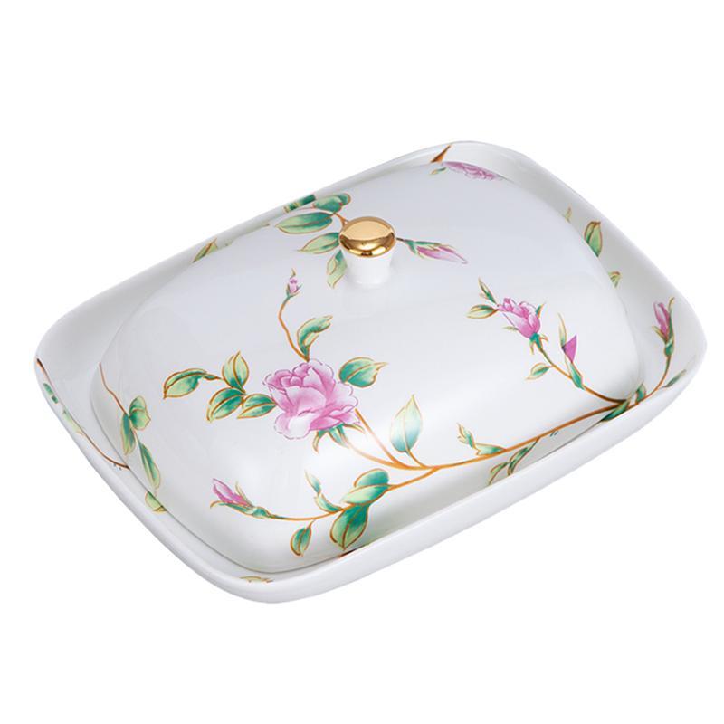 ارتفع السيراميك الجبن زبدة صندوق ختم مع غطاء دقيق الغذاء طبق تقديم الحلوى منظم مطبخ الأطعمة صينية تخزين لوحة زبدة