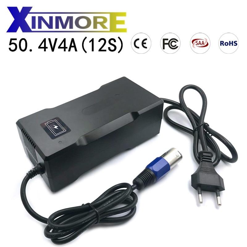 XINMORE-شاحن بطارية ليثيوم 50.4 فولت 4A 12S ، ذكي ، سريع ، لبطارية ليبو ليثيوم أيون 44.4 فولت 4 أمبير ، دراجة كهربائية مع CE ROHS SAA