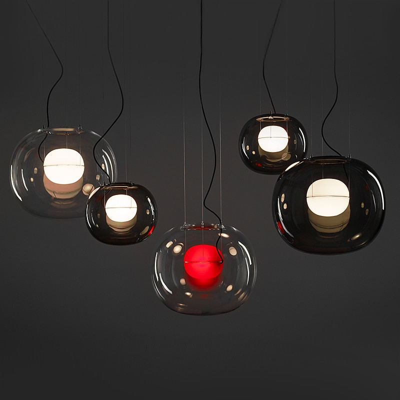 BROKIS كبير واحد مصمم ما بعد الحداثة قلادة ضوء غرفة الطعام المطبخ كرة زجاجية بسيطة قلادة ضوء المنزل الإضاءة الداخلية