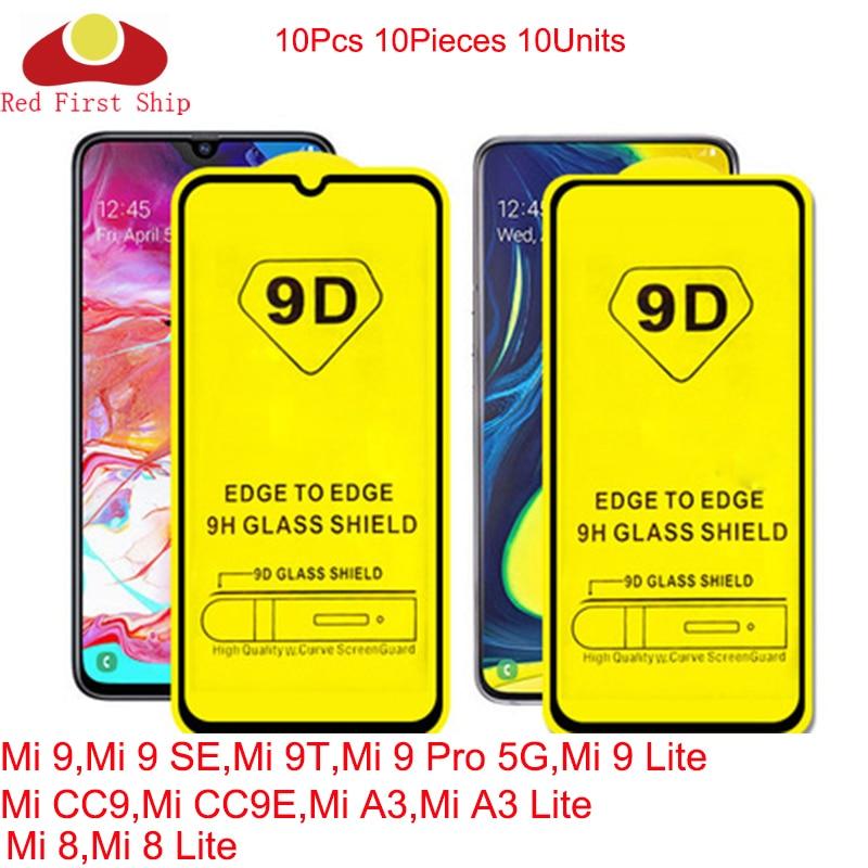 100Pcs/lot 9D Tempered Glass For Xiaomi Mi 9T 9 Pro 5G SE Lite Full Cover Screen Protector Mi 8 SE CC9 CC9E A3 Movie Film 9H 9D