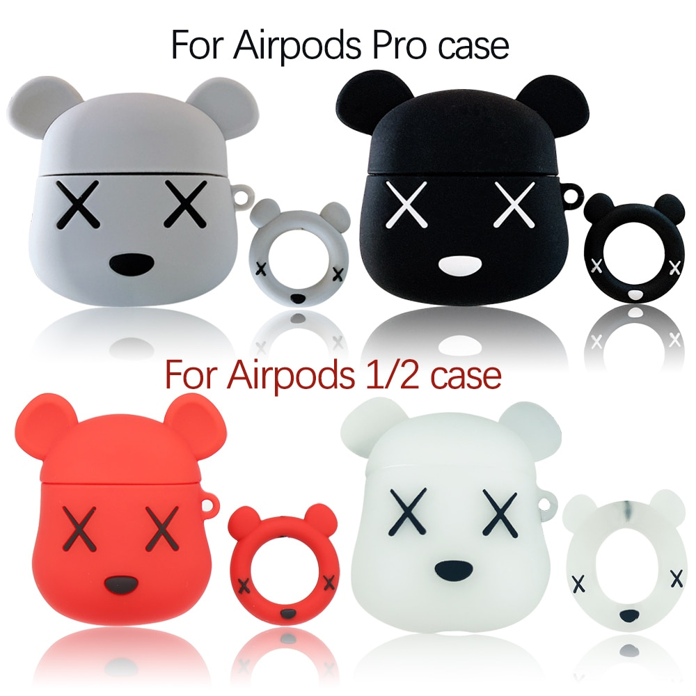 Auriculares Bluetooth inalámbrico con carcasa para los Airpods 1 2 Pro 3D de dibujos animados de silicona oso funda de protección para los Airpods de Apple Pro
