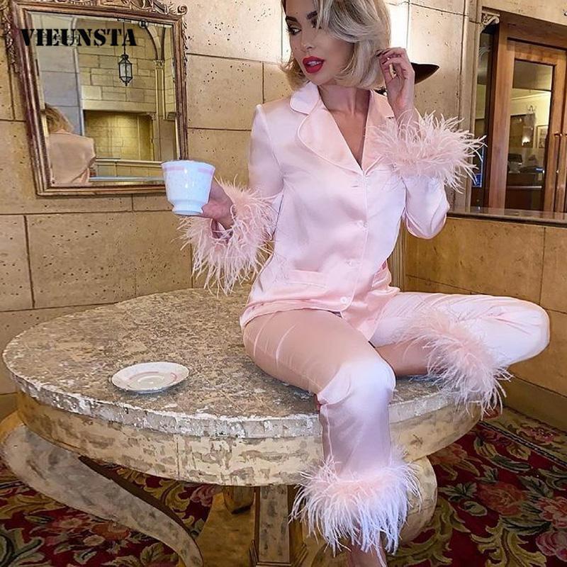 Homewear منامة النساء عادية التلبيب زر بلايز + السراويل الدعاوى الخريف الشتاء تصميم لينة ريشة طويلة الأكمام موضة 2 قطعة مجموعة