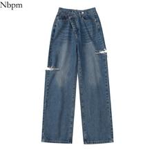 Nbpm New 2021 Fashion Button Fly Baggy Jeans Woman High Waist Boyfriend Style Wide Leg Jeans Streetw