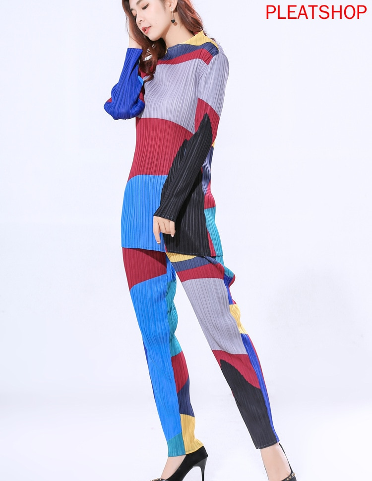 Plus Size Pant Suits Miyake Pleated New Fashion Digital Printed Long Sleeves Long T-shirt Top   Slim Pencil Pants Two Piece Set