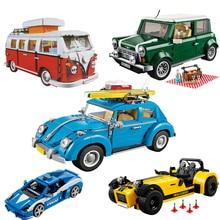21001 bloques técnicos Mini cooper The T1 Camper Van Car Model Set City bloques de construcción de automóviles clásicos juguetes para niños regalos para niños