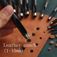 round hollow punch set 10pcs leather craft punch tool hollow hole punch cutter tool for watch bands belts canvas paper 1 10mm