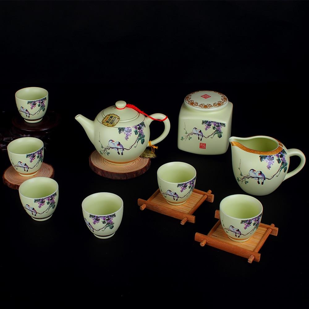 جينغدتشن السيراميك الكونغ فو الشاي تسعة قطعة مجموعة مكتب هدية