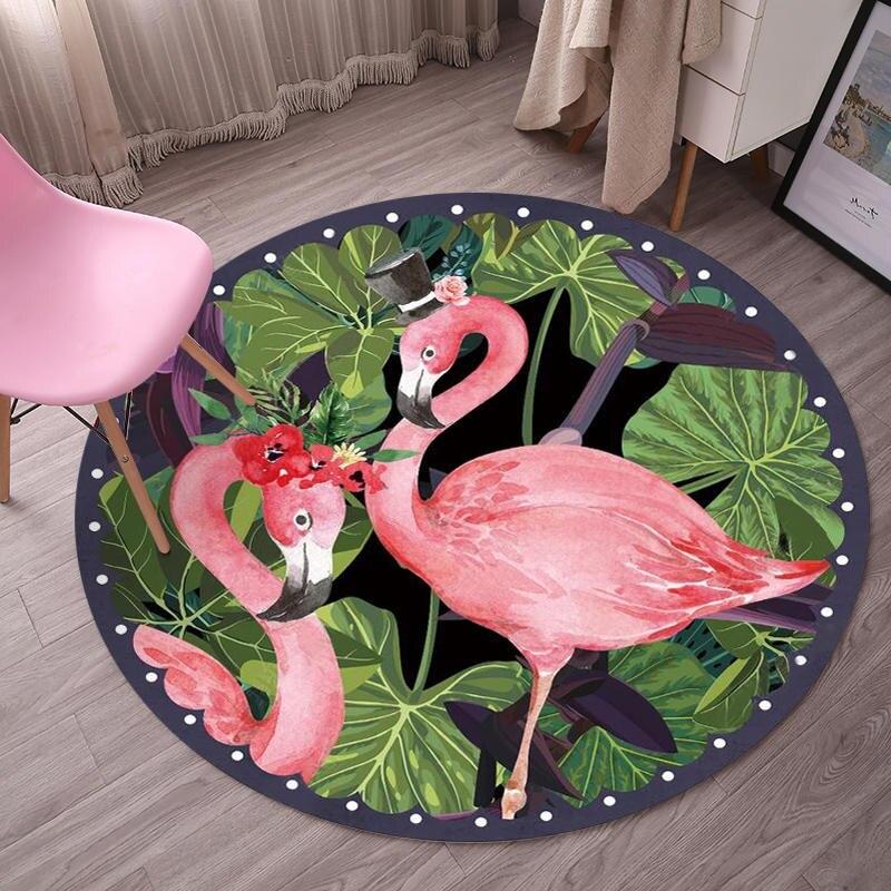 Alfombra redonda de hoja de palma de flamencos para sala de estar Silla de ordenador alfombra de área de juegos para niños alfombra de suelo decoración