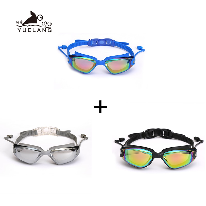 3 PCS  Professional Swimming Goggles Set Earplugs Waterproof Glasses Electroplate Anti-Fog Anti-UV Pull Buckle Adult Silicone