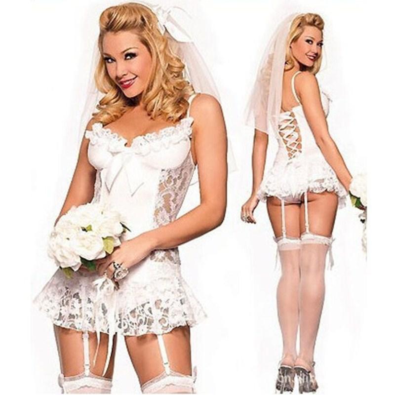 Trajes de novia baratos para mujer, juego de lencería nupcial, uniformes, Bustier Sexy para boda, ropa exótica, ropa interior exótica para dormir