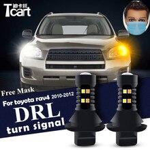 Pour toyota rav 4 rav4 diurne clignotant voiture Led drl 7440 t20 accessoires 2010 2011 2012 commande cadeau masques