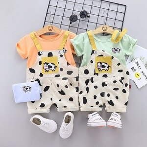 2021 Summer New 0-4 Years Old Baby Boy Girl Children's Suit Short Sleeve + Cow Print Suspender Shorts Two-pieces Sets