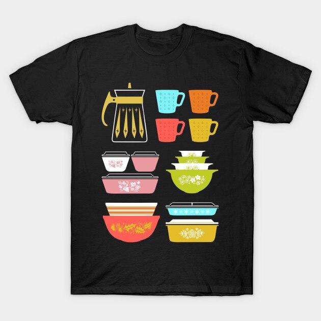 Мужская футболка Pyrex Pretties, винтажная стеклянная кухонная футболка для женщин и мужчин