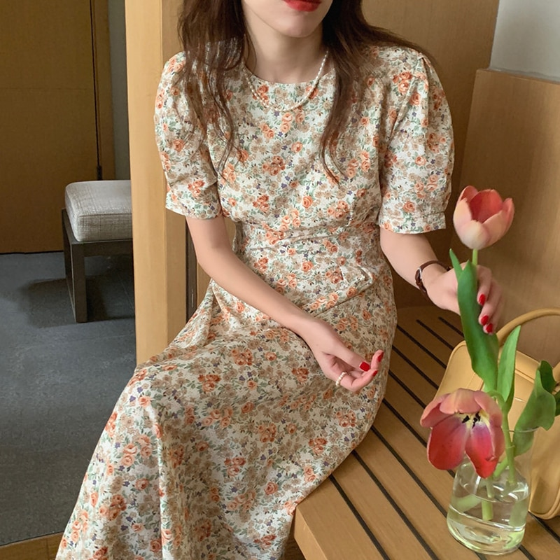 2021 Summer Fashion Floral Long Dress Boho Women O-Neck Short Sleeve Bandage Vintage Casual High Waist Vestido