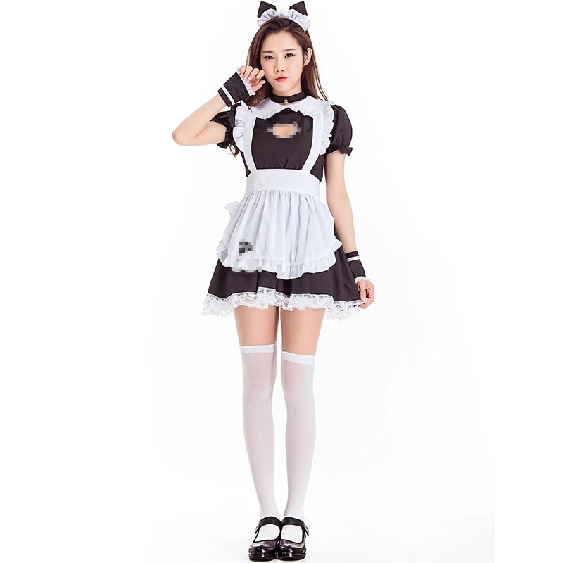 Black Lolita Dresses Maid Outfit Cute Cat Cosplay Costume Women Suit Apron Dress Halloween Costumes S-4XL