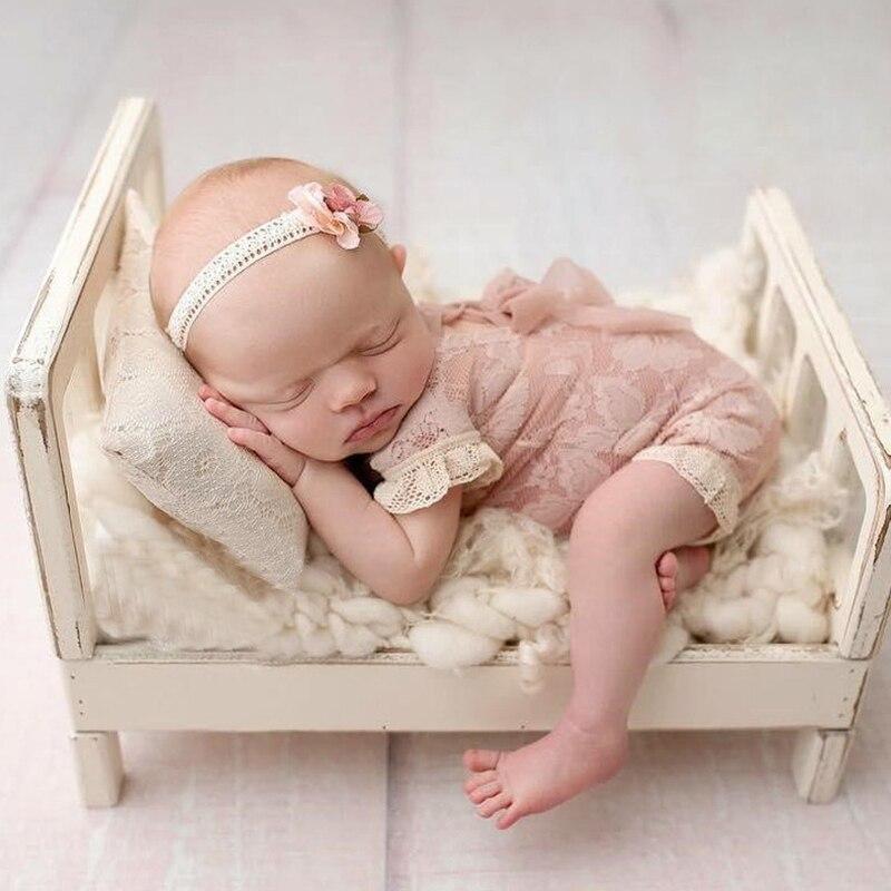 Cama de Madeira do Bebê Presente Foto Prop Posando Portátil Durável Fotografia Shotting As99