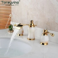 torayvino bathroom gold plated 3 pcs 2 lever golden and jade stone combo bathtub faucet washasin sink deck mounted mixer tap