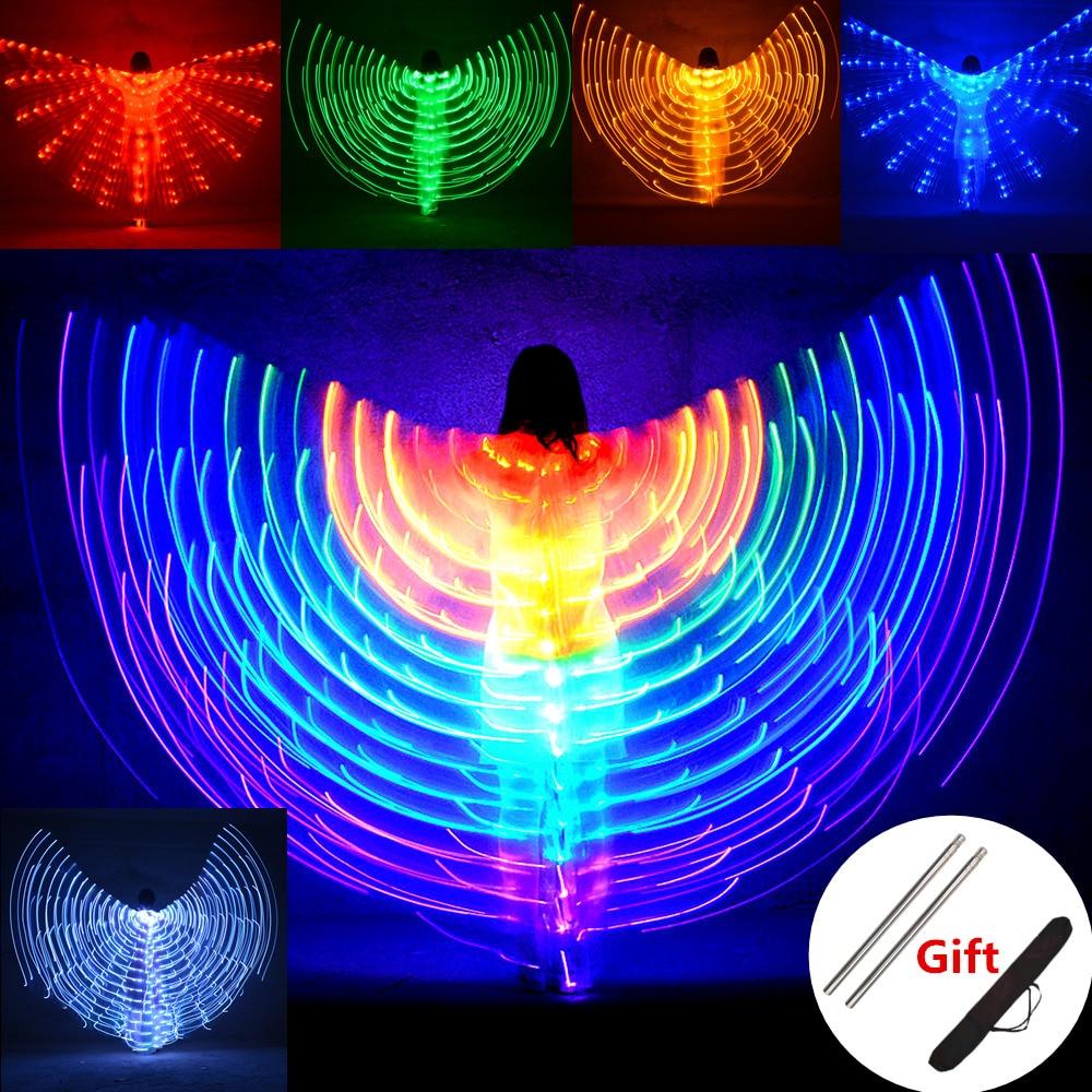 Светодиодные Крылья для танца живота для детей, флуоресцентные крылья бабочки Исиды для танца живота, карнавальные светодиодные костюмы дл...