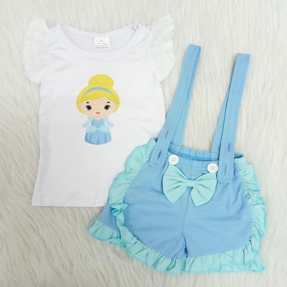 Conjunto de 2 piezas de camisa raglán y mono azul con diseño de dibujos animados para niña, conjunto de fiesta de verano