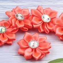 Lulang-fleurs satinées strass corail   Taille 1.5