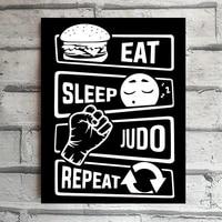tin sign eat sleep judo repeat wall art decor rustic plaque bar cafe restaurant hotel house