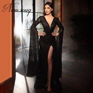Illusion Split Side Slit Evening Dress Handmade Saudi Arabia Deep V Neck Party Dress Long Prom Dress Robe De Soiree 2020 Turkish