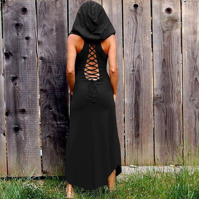 Vestido largo de mujer con encaje Halter ahuecado Club Sexy elegante línea A negro ajustado primavera elegante Casual vestidos góticos
