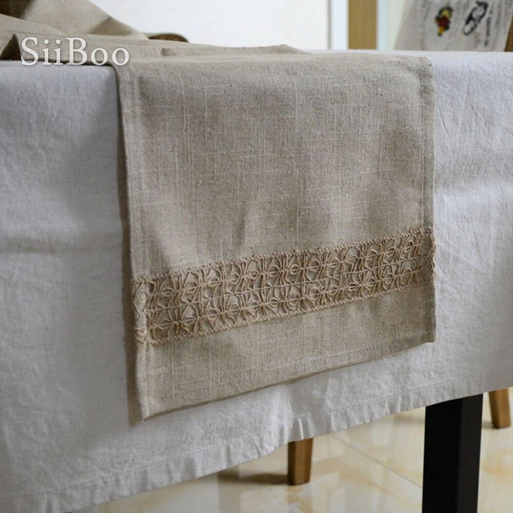 Скатерти из 100% льна в японском стиле скатерти для стола с кружевом и соединением