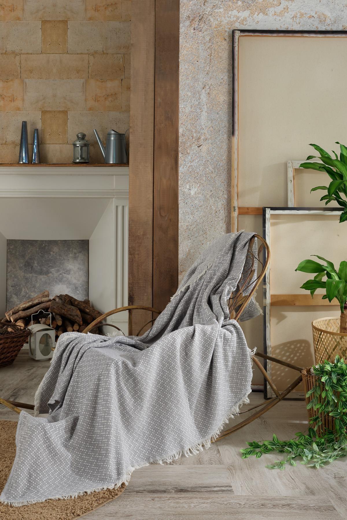 غطاء مقعد من الكتان الطبيعي | نول أريكة أسود منسوج