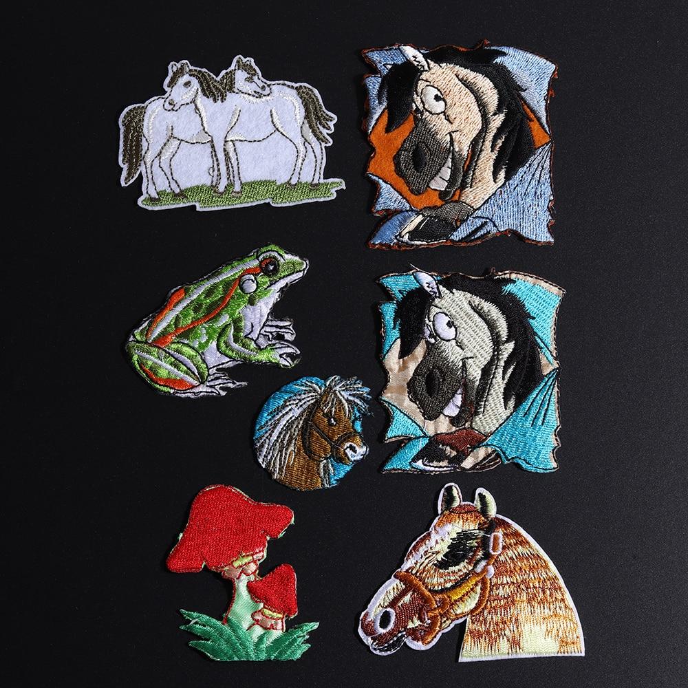 Parche para brazalete con diseño de dibujos de animales, hongo, caballo, Rana, parche para brazalete, parches bordados de hierro para ropa, accesorio para apliques DIY