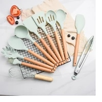 silicone cookware set 12 layl kitchen tool sets kitchen utensils wooden handle cookware greenpink