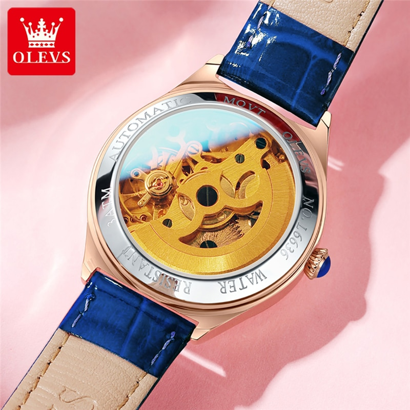 OLEVS Mechanical Women Watch Fashion Luxury Brand Ladies WristWatch Leather Hollow Design Automatic Watches Montre Femme 6636 enlarge