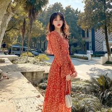 Deivor red retro fashion dress flower chiffon long  Korean loose show thin petal sleeve dress