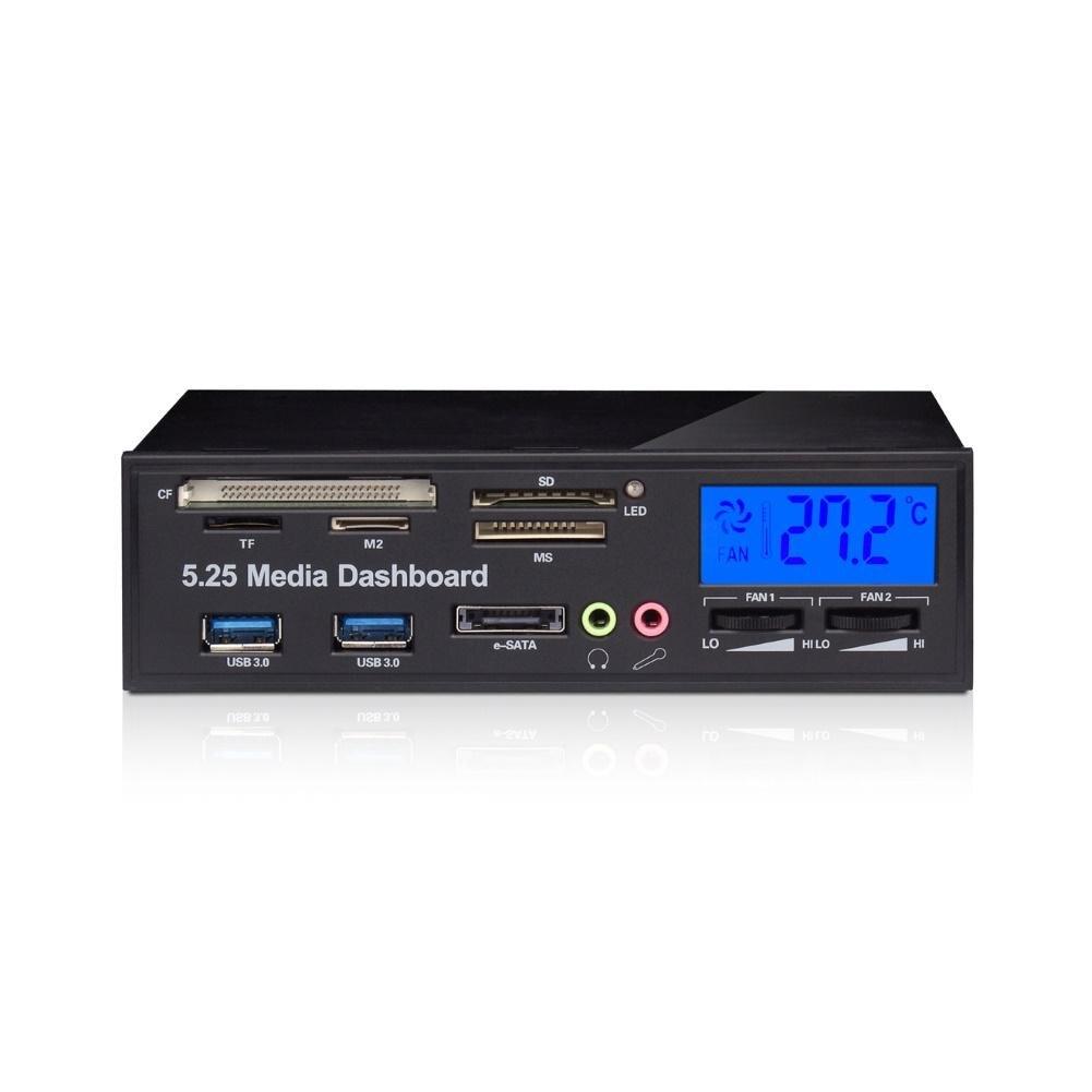 12V/5V Multifunctional Front Panel Card Reader USB 3.0 Hub 3.5mm Audio e-SATA MS CF TF SD-Card High Speed Card Reader картридер