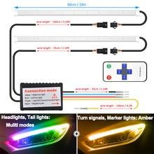 2 pièces RF télécommande multicolore ultra-mince DRL LED lumière diurne clignotant Guide bande pour phare voiture lampe