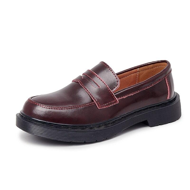 AIYUQI المرأة المتسكعون جلد طبيعي 2021 جديد كبير الحجم 44 45 46 النمط البريطاني طالب أحذية الفتيات جولة تو أحذية السيدات