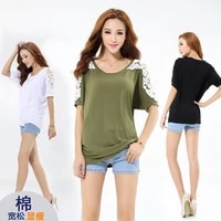 plus size womens fat mm female summer loose and thin bat shirt short sleeved t shirt wild hollow top tide
