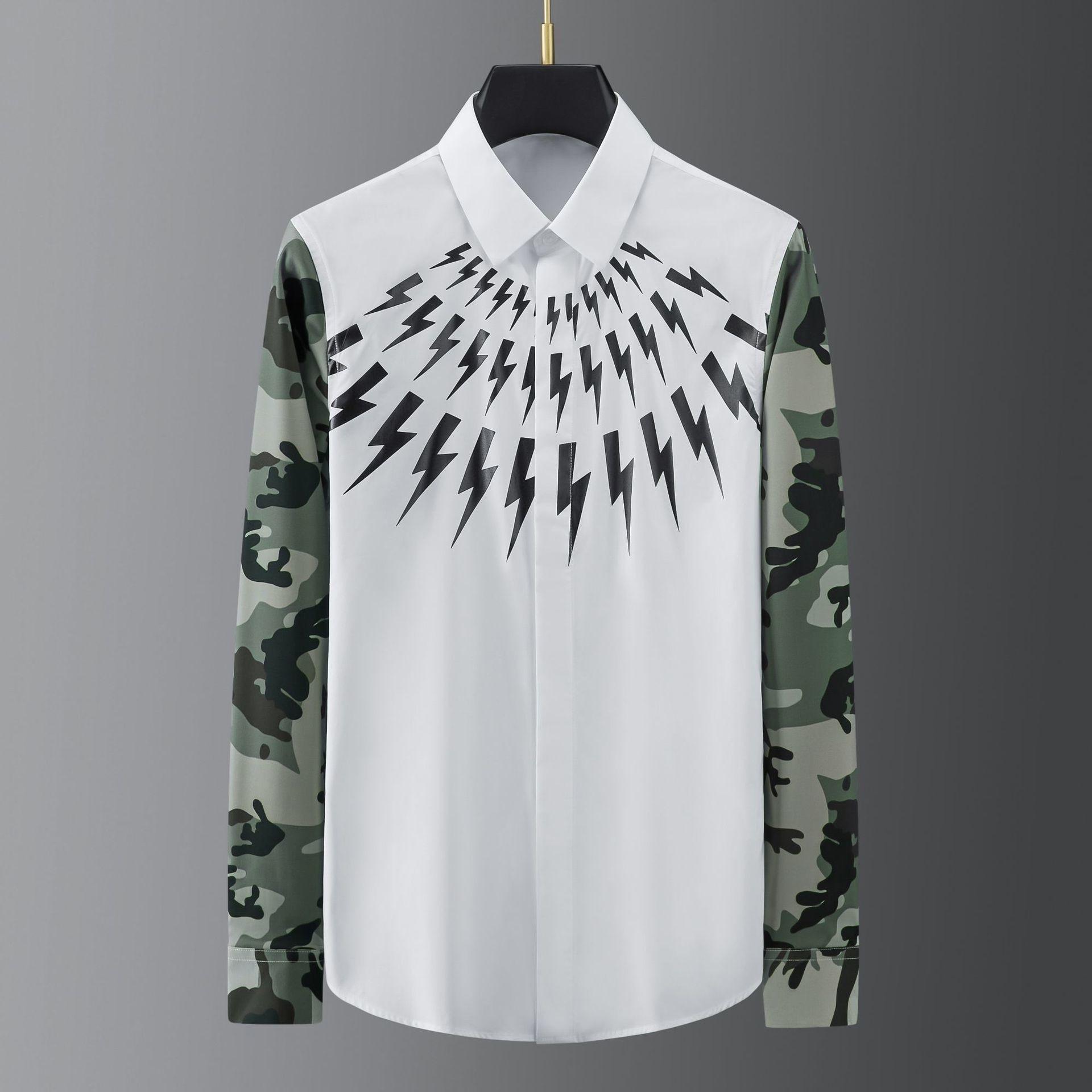 عالية الجودة خياطة الرجال قميص عادية سليم قميص الرجال التمويه طباعة نادي حفلة الاجتماعية قميص ملابس الشارع الشهير قميص أوم