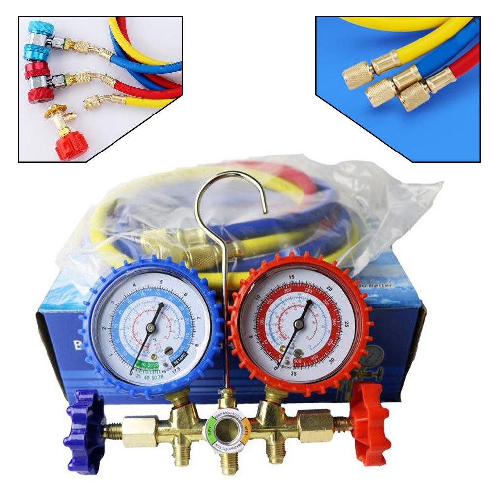 R134A/R12/R22/R502 المبردات المنوع قياس تكييف الهواء مجموعة عدادات قياس مع خراطيم مقرنة اختبار صمام قياس مزدوج الضغط