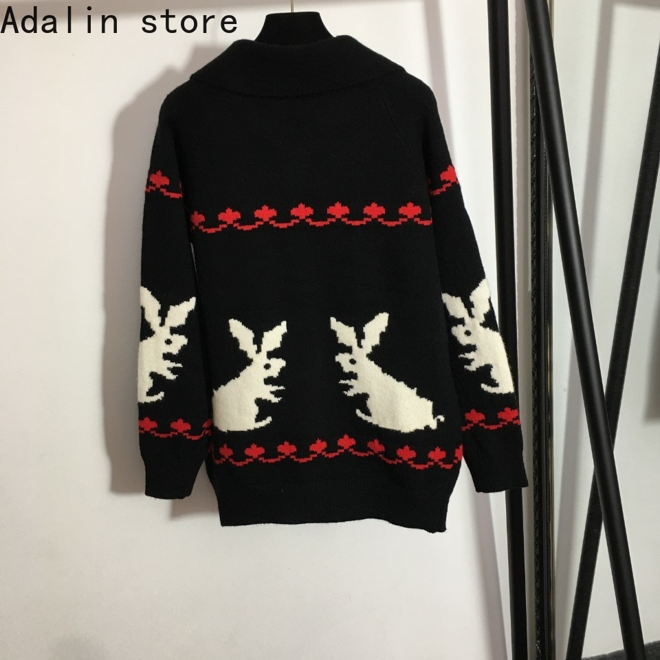 high quality autumn and winter fashion women's white rabbit jacquard long sleeve coat lapel long sleeve knitted cardigan sweater enlarge