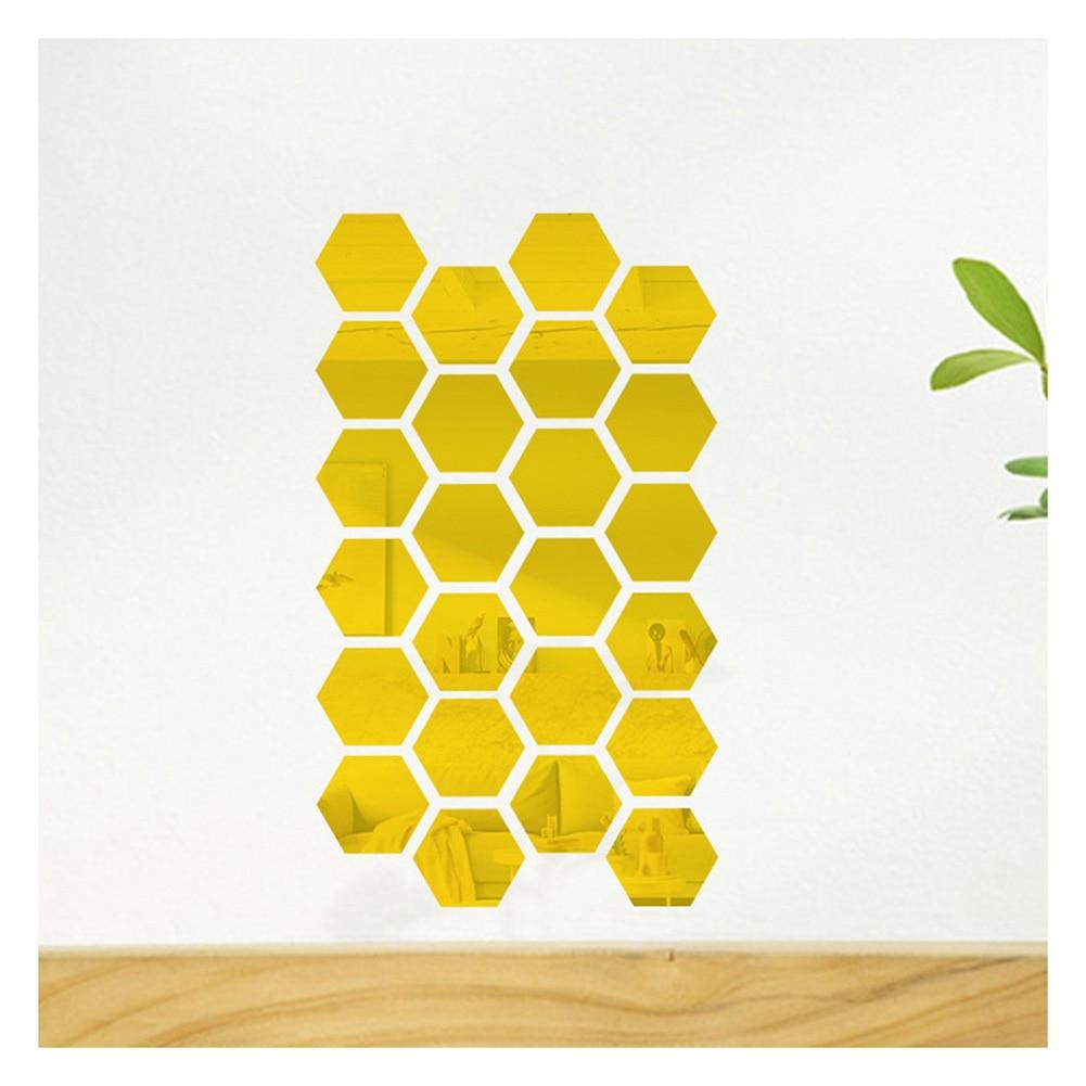 12 Uds. Pegatinas hexagonales de espejo para pared DIY arte decoración del hogar artesanías para el salón L5