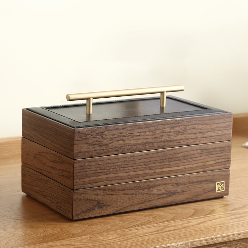 2020 Luxury Large Wooden Jewelry Box Organizer Wood Velvet 3Layers Earring Rings Necklace Storage Ca