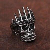 classical nobility king crown skull ring men punk stainless steel biker skull rings fashion men gothic jewelry gift wholesale