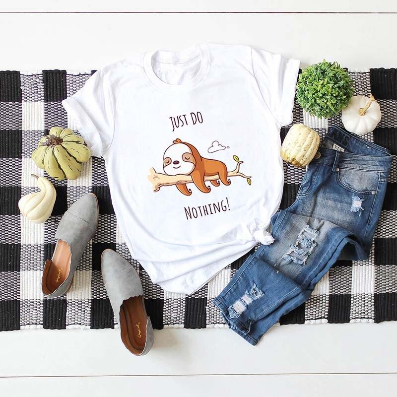 Camiseta con estampado kawaii sloth just do nothing, camiseta casual de algodón divertida, camisetas harajuku de mujer de talla grande S-5XL