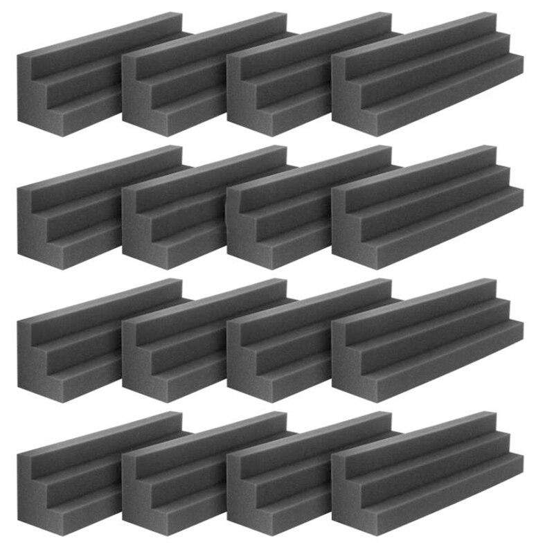 ألواح صوتية الاستوديو ، فوم عازل للصوت ، بلاط صوتي ، أسافين صوتية ، 12 × 12 × 24 سم ، أسود ، 16 قطعة