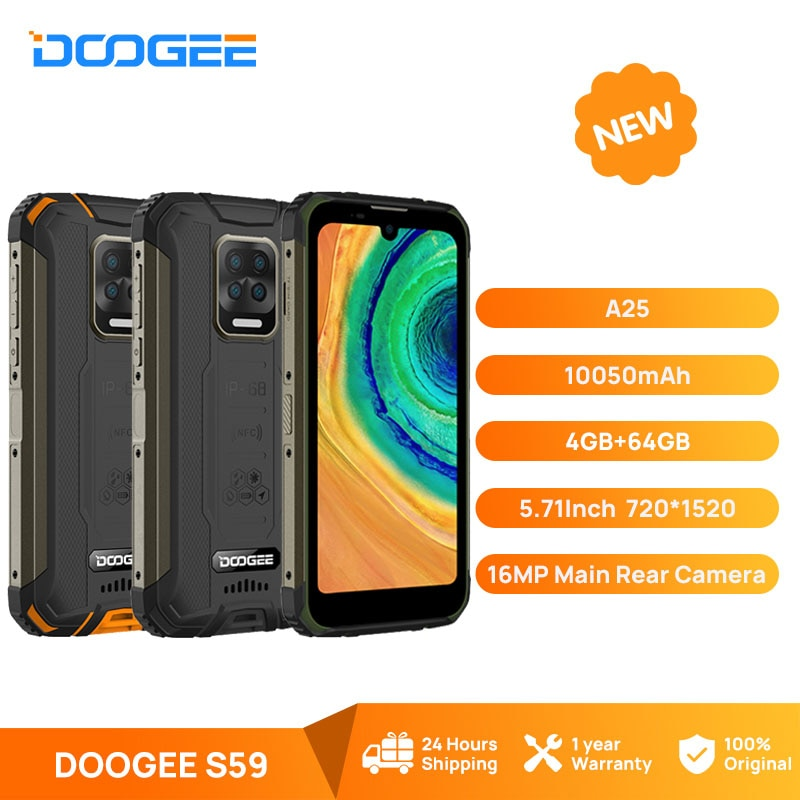 DOOGEE S59 Rugged Phone 10050mAh Super Battery Smartphone 4GB+64GB Cellphone IP68/IP69K 2W Loud Volume Speaker Celular