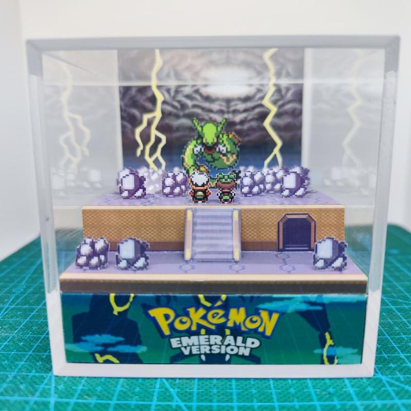 GBA Pokemon Emerald DIY Sky Pillar Rayquaza Game Scene Paper Mold Figures Gift Gift Box Hobby Collection