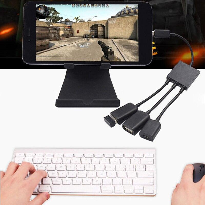 3 In1 tipo-C macho a hembra Micro OTG con USB puerto de juego del ratón del teclado de adaptador de Cable de datos para el teléfono Android Tablet PC memoria Flash USB